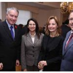 Turkish first counsellor and chargé d'affaires Gulcan Akoguz, third from left, hosted a national day reception at the residence. Joining her from left, French Ambassador Philippe Zeller, Moroccan Ambassador Nouzha Chekrouni and Algerian Ambassador Smail Benamara. (Photo: Sam Garcia)