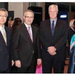 Korean Ambassador Cho Hee-yong, far left, and his wife, Yang Lee, far right, hosted a national day reception at the National Gallery of Canada. They were joined by Trade Minister Ed Fast (left) and DFAIT assistant deputy minister Peter McGovern. (Photo: Embassy of Korea)