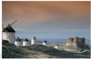 Windmills in La Mancha, an historic area south of Madrid.