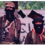 Sub-comandante Marcos, spokesman for the Zapatista Army of National Liberation, and Comandante Tacho in Chiapas in 1999.