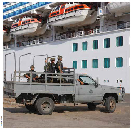 The Mexican military has a presence, even at cruise ship ports.