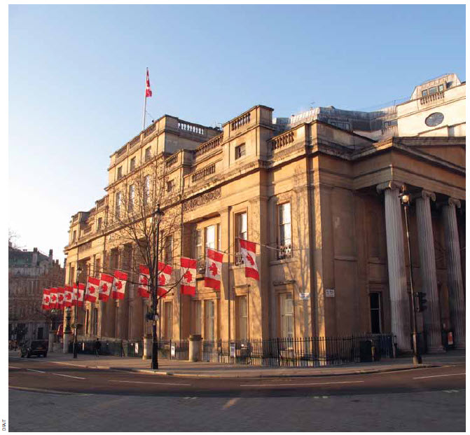 Canada House, situated on the west side of Trafalgar Square, is one of London's most prestigious addresses. It will be renovated with the proceeds from the sale of Macdonald House. The latter houses offices and also the residence of the high commissioner.