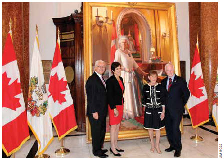 High Commissioner Gordon Campbell and his wife, Nancy, stand  with Gov. Gen. David Johnston and his wife, Sharon, in front of a portrait by Paul Glen, given to the Queen on her diamond jubilee in 2012.