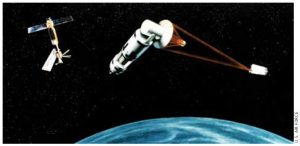 A blast from the past: An artist's conception of a laser satellite defence system, from 1984.