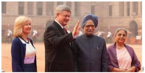 From left, Prime Minister Stephen Harper and his wife, Laureen, are greeted by Indian Prime Minister Manmohan Singh and his wife, Gursharan Kaur, at Rashtrapati Bhavan in New Delhi, India.
