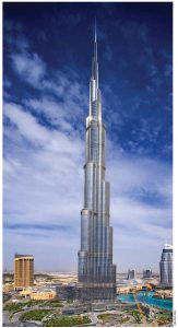 The Burj Khalifa in Dubai, UAE, is the world's tallest building.
