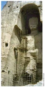 The taller of the two Buddhas of Bamiyan in 1976. They were destroyed by the Taliban in 2001.