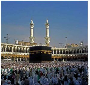 The Ka'ba in Mecca, Saudi Arabia, is the most sacred place in the Islamic world.