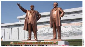 North Koreans bow in front of the statues of Kim Il Sung and Kim Jong Il on Mansu Hill in Pyongyang.