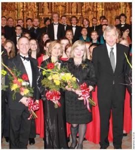 The EU Christmas Concert 2012: From left, Robert Filion, director of the Chorale de la Salle; Jackie Hawley, director of the Ottawa Children's Choir; organizer Ulle Baum; former EU Ambassador Matthias Brinkmann.