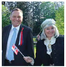 Norwegian Ambassador Mona Elisabeth Brother and her husband Asmund Baklien hosted a national day reception at their residence. (Photo: Ulle Baum)