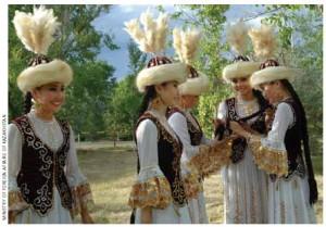 Women in traditional Kazakh dress.