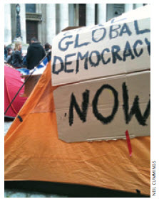Occupy Movement tents in front of St. Paul's Cathedral in London.