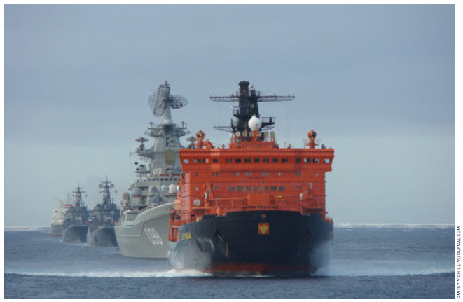 Peter the Great (second in fleet) and other vessels move through the North Sea Way from Russia.