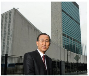 UN Secretary-General Ban Ki-Moon stands in front of UN headquarters in New York.