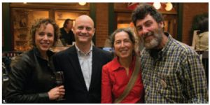Guatemalan Ambassador Georges de la Roche, second from left, attended his last Guatemala Stove Project fundraising event. Funds will build improved cooking stoves for rural Mayan families. From left, Marie Cocking, Rita Redner and Tom Clarke, founder of the Guatemala Stove Project. (Photo: Pierre Fortier.)
