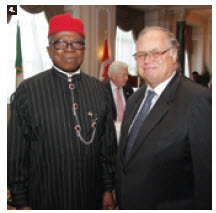 To mark Nigeria's 53rd independence day, High Commissioner Ojo Uma Maduekwe hosted a reception. He's shown with Finnish Ambassador Charles Murto.