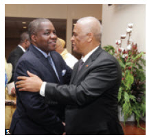 Ambassadors and high commissioners representing the Southern African Development Community had a reception on Oct. 4 at the Hellenic Centre to celebrate SADAC Day. Here, Zambian High Commissioner Bobby Samakai is greeted by Angolan Ambassador Agostinho Tavares da Silva. (Photos: Sam Garcia).