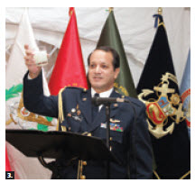 The Embassy of Peru held a reception at the ambassador's residence to mark Peruvian Armed Forces Day. Here, Col. Julio Román Samander toasts. (Photos: Sam Garcia)