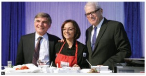 Greek Ambassador Eleftherios Anghelopoulos and the University of Ottawa Heart Institute Foundation hosted a Healthy Heart Greek Food and Wine Tasting with celebrity chef Christine Cushing. From left, foundation board member Steve Ramphos, Ms Cushing and Mr. Anghelopoulos (Photo: Sam Garcia)