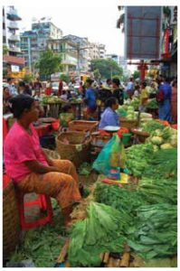 A market in Yangon, the capital of Myanmar.