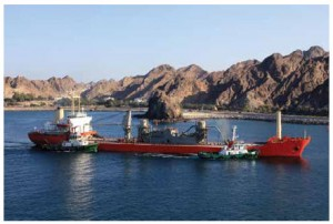 A vessel approaches an oil refinery in Fujairah, UAE.