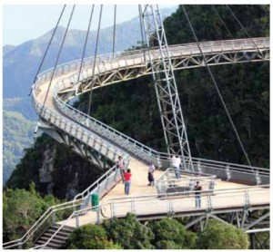 Reachable by thrilling cable car ride, Langkawi's curved suspension sky bridge provides great views of Langkawi Island, Malaysia.