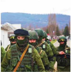 Soldiers without insignia on march in Perevalne, Crimea. Vladimir Putin conceded in April that they were Russian troops.