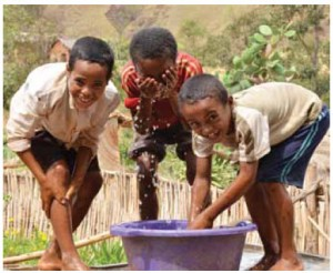 At this rural commune in Madagascar, WaterAid is working with Miarintsoa Association, a partner organisation, on a project that will feed 17 community water points.