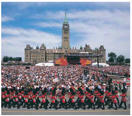 The day-long Canada Day celebration on Parliament Hill often draws crowds of more than 100,000 people.