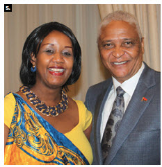Rwandan chargé d'affaires Shakilla K.Umutoni, left, hosted a national day reception at the Château Laurier with musical performances and traditional dances. She's shown with Angolan Ambassador Tavares da Silva Neto. (Photo: Ulle Baum)