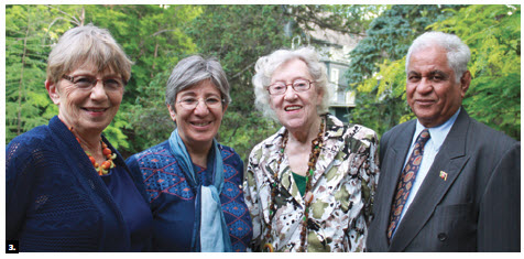 Sima Samar, chairwoman of the Afghan Independent Human Rights Commission, attended a garden party fundraiser for CFUW University Women Helping Afghan. From left, Charlotte Rigby, president, CFUW Ottawa Chapter; Ms Samar; Flora MacDonald, former minister of external affairs; and Afghan Ambassador Sham Lall Bathija. (Photo: Ulle Baum)