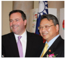 Bruce Linghu, representative of the Taipei Economic and Cultural Office, hosted Taiwan's 102nd National Day at the Chateau Laurier. He's joined by Multiculturalism Minister Jason Kenney. (Photo: Ulle Baum)