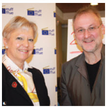 EU Ambassador Marie Anne Coninsx and Tom McSorley, executive director of the Canadian Film Institute, at the press launch for the 29th European Film Festival. (Photo: Ulle Baum)