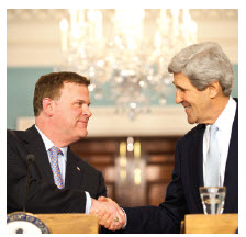 With U.S. Secretary of State John Kerry at a press conference in Washington, D.C.