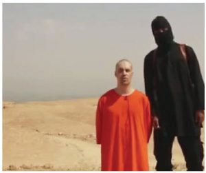 "IS released photos such as this one to show journalist James Foley with his IS assassin, thought to be Mohammed Emwazi, a British man born in Kuwait. Prior to his identification, the British media referred to him as ""Jihadi John."""