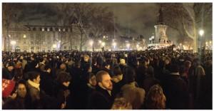 Demonstrators gather at the Place de la République in Paris the night of the Charlie Hebdo attack. Vigils took place across the globe.