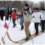 At Gov. Gen. David Johnston's annual winter celebration Jan. 24, Asmund Baklien, husband of Norwegian Ambassador Mona Brother, led the competition on Norwegian skis that were eight metres long. (Photo: Ülle Baum)