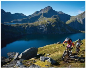 Mountain biking is a popular sport around Tennesvatnet Lake in Lofoten.