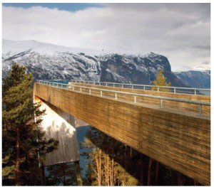 Stegastein Viewpoint overlooks the Aurland Fjord from 650 metres. It was designed by Canadian architect Todd Saunders with Norwegian architect Tommie Wilhelmsen as part of the National Tourist Routes initiative.