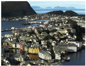 The city of Ålesund was completely rebuilt in the Art Nouveau style after a devastating fire in 1904 that left 10,000 people homeless.