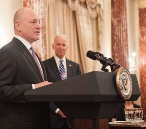 With U.S. Vice-President Joe Biden looking on, Ambassador Heyman delivers remarks at his swearing-in ceremony. (Photo: State Department)