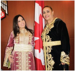 UAE Ambassador Mohammed Saif Helal M. al-Shehhi hosted a luncheon to mark the achievements of women in the Arab World. From left: Leila Gouchi, artist and songwriter, and Malika El Kaoukabi, sales representative for Royal Air Maroc, in Moroccan national dress. (Photo: Ulle Baum)