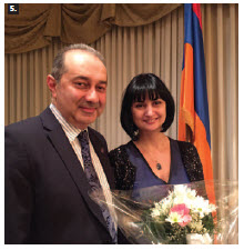 Armenian Ambassador Armen Yeganian and his wife, Maria, hosted a Music to Dine For dinner in support of the Friends of the National Arts Centre Orchestra. The Neutrino Trio performed. (Photo: Ulle Baum)