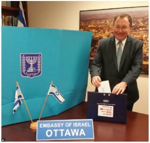 Israeli Ambassador Rafael Barak voted at his embassy prior to the Israeli election. (Photo: Embassy of Israel)