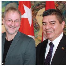 Cuban Ambassador Julio Garmendia Peña hosted a press launch for the 19th Latin American Film Festival. Shown are Tom McSorley, executive director of the Canadian Film Institute, and Venezuelan Ambassador Wilmer Omar Barrientos Fernandez. (Photo: Ulle Baum)