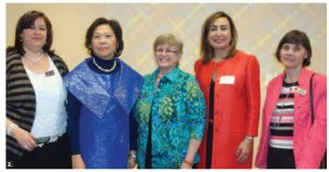 The International Women Club of Ottawa (IWCO) was invited to the Philippines embassy to learn about Filipino culture and cuisine. From left, Nermine Fouad, Philippines Ambassador Petronila Garcia, IWCO president Helen Souter, Rabea Elfeitori, wife of ambassador of Libya, and Lia Mazzolin. (Photo: Eric Tamayo)