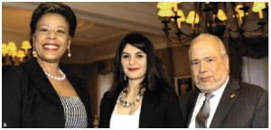 Armenian Ambassador Armen Yeganian and his wife, Maria, hosted a fundraising dinner in support of the Friends of the National Arts Centre Orchestra. Guests, from left, are Florence Saint-Léger Liautaud, mezzo-soprano Arminè Kassabian and Haitian Ambassador Franz Liautaud. (Photo: Lois Siegel)