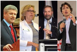 Stephen Harper, Elizabeth May, Thomas Mulcair and Justin Trudeau are concentrating on domestic policy, but each has made some foreign policy promises.  (Photo: PMO/ Green party of Canada/ © Jmweb7 | Dreamstime.com/ © Robseguin | Dreamstime.com)