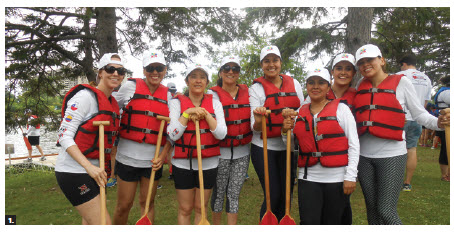 A Pacific Alliance team took part in the Ottawa Dragon Boat Festival. The women on the team, from left to right, included Maura Riordon and Carla Cueva (Peru); Elizabeth Cadena (Colombia); Maria Fernanda Salinas (Chile); Ana Maria Gaitan (Colombia); Argenis Moran (Mexico); Diana Bonilla (Mexico) and Magali Zariquiey (Peru.) (Photo: Embassy of Colombia)